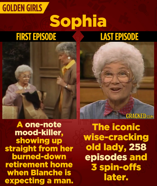 GOLDEN GIRLS Sophia FIRST EPISODE LAST EPISODE CRACKEDCO A one-note The iconic mood-killer, wise-cracking showing up straight from her old lady, 258 b
