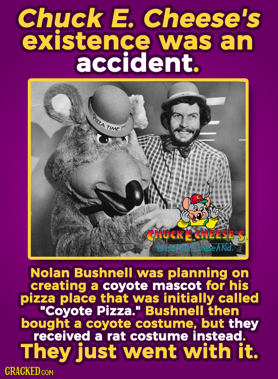 Chuck E. Cheese's existence was an accident. PzzA TIME CHUCKECHEESE'S WheteicanbeAkid. Nolan Bushnell was planning on creating a coyote mascot for his