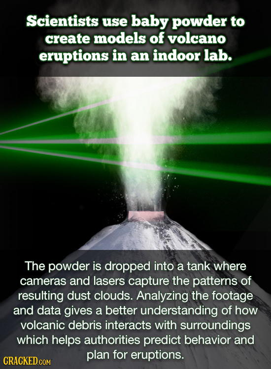 Scientists use baby powder to create models of volcano eruptions in an indoor lab. The powder is dropped into a tank where cameras and lasers capture