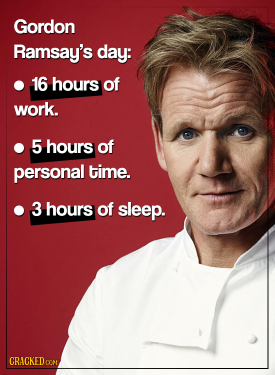 Gordon Ramsay's day: 16 hours of work. 5 hours of personal time. 3 hours of sleep. CRACKED COM
