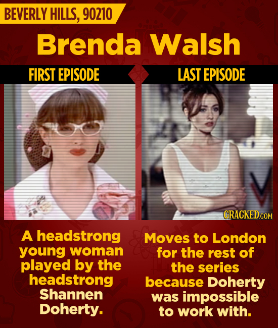 BEVERLY HILLS, 90210 Brenda Walsh FIRST EPISODE LAST EPISODE CRACKED cO A headstrong Moves to London young woman for the rest of played by the the ser