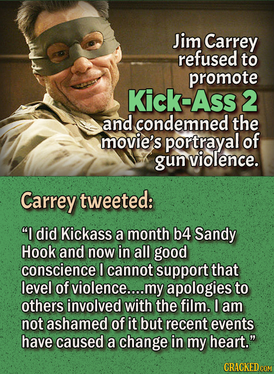 People Who Didn't Want Anything To Do With Their Own Work - Jim Carrey refused to promote Kick-Ass 2 and condemned the movie's portrayal of gun viole