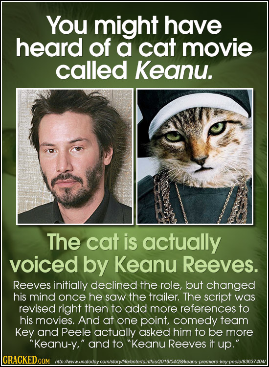 You might have heard of a cat movie called Keanu. The cat is actually voiced by Keanu Reeves. Reeves initially declined the role, but changed his mind