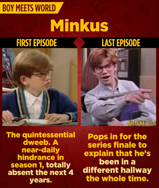 BOY MEETS WORLD Minkus FIRST EPISODE LAST EPISODE CRACKEDC The quintessential Pops in for the dweeb. A series finale to near-daily explain that he's h