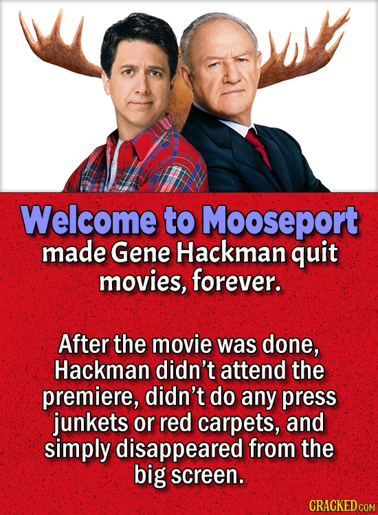 People Who Didn't Want Anything To Do With Their Own Work - Welcome to Mooseport made Gene Hackman quit movies, forever.  After the movie was done, H