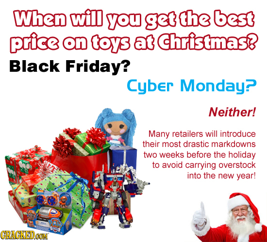 When will you get the best price on toys at Christmas? Black Friday? Cyber Monday? Neither! Many retailers will introduce their most drastic markdowns