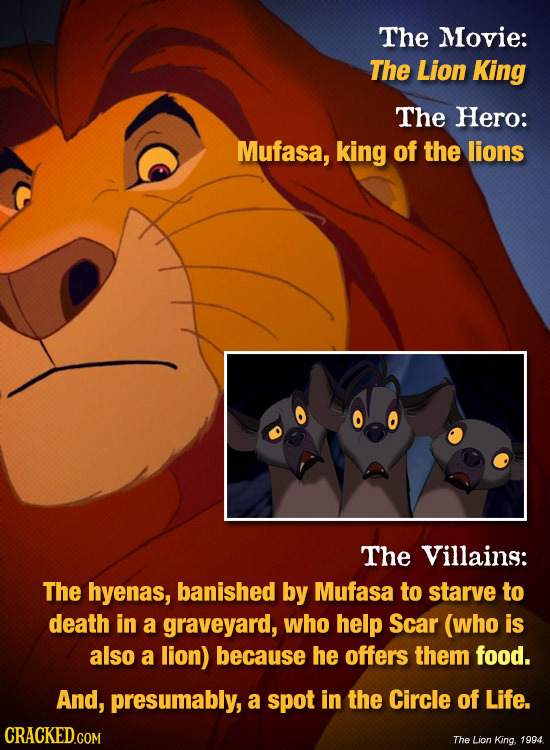 The Movie: The Lion King The Hero: Mufasa, king of the lions The Villains: The hyenas, banished by Mufasa to starve to death in a graveyard, who help