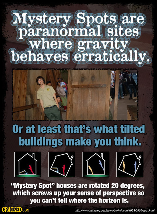 Mystery Spots are paranormall sites where gravity behaves erratically. Or at least that's what tilted buildings make you think. Mystery Spot houses