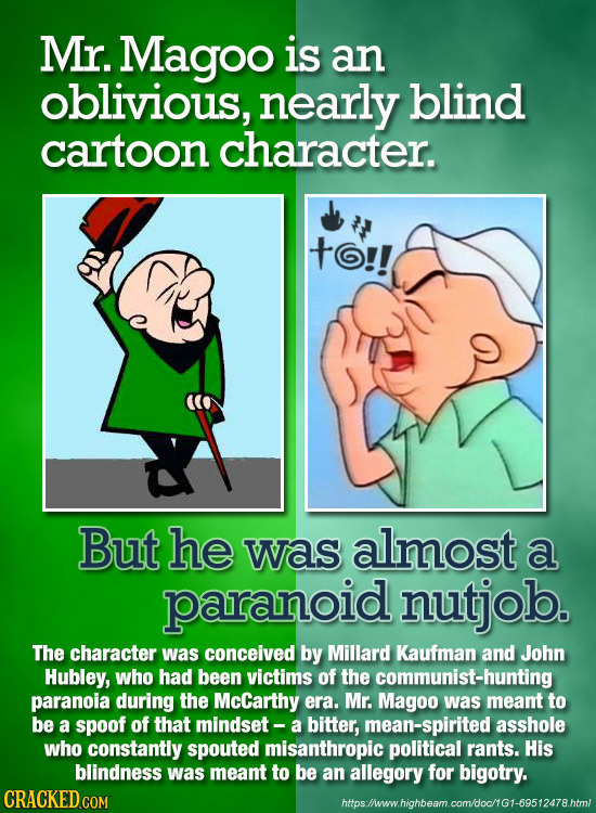 Mr. Magoo is an oblivious, nearly blind cartoon character. to!! But he was almost a paranoid nutjob. The character was conceived by Millard Kaufman an