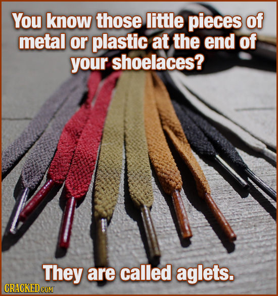You know those little pieces of metal or plastic at the end of your shoelaces? They are called aglets.