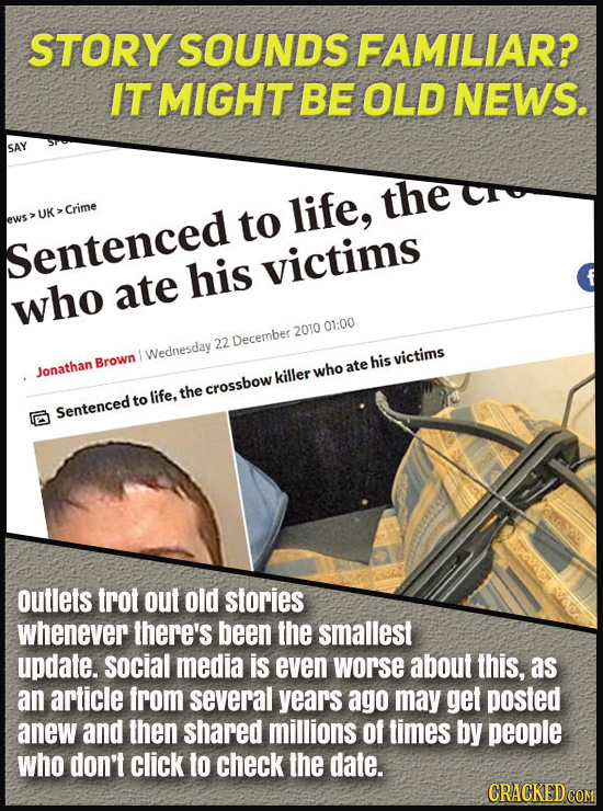 STORY SOUNDS FAMILIAR? IT MIGHT BE OLD NEWS. SAY to life, the UK Crime ews Sentenced his victims who ate 2010 01:00 22 December Wednesday Brown his vi