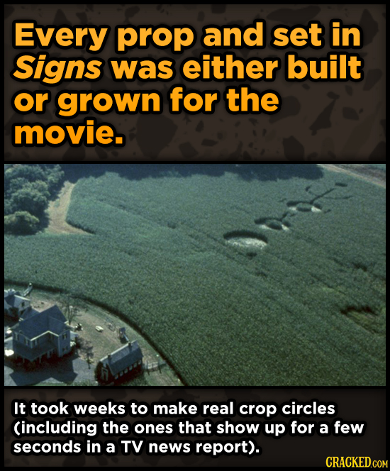 Every prop and set in Signs was either built or grown for the movie. It took weeks to make real crop circles Cincluding the ones that show up for a fe