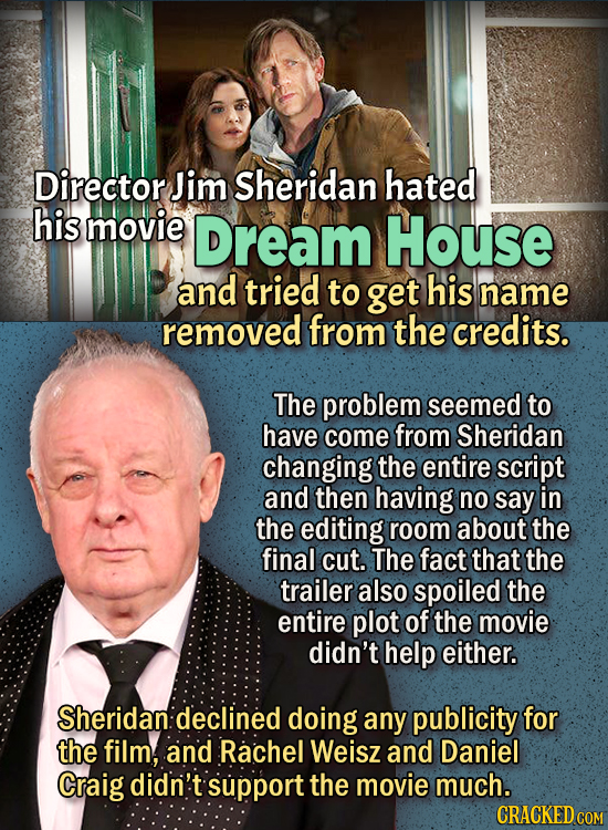 People Who Didn't Want Anything To Do With Their Own Work - Director Jim Sheridan hated his movie, Dream House, and tried to get his name removed from