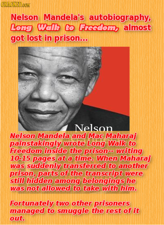 CRACKEDOON Nelson Mandela's autobiography, Long Waik Co Freedom almost got lost in prison... Nelson Nelson Mandela and Mac Maharaj painstakingly wrote