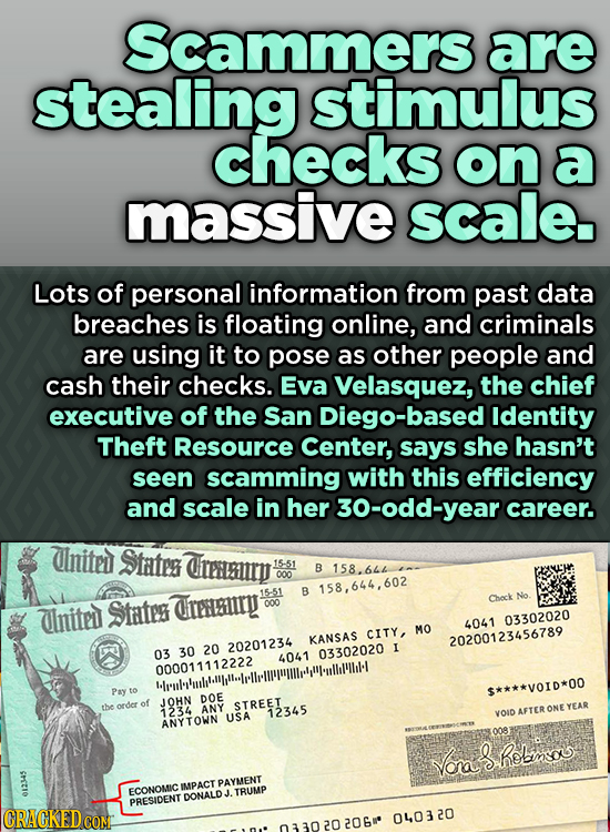 Scammers are stealing stimulus checKS on a massive scale. Lots of personal information from past data breaches is floating online, and criminals are u