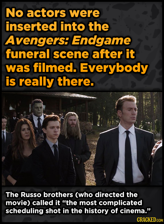 No actors were inserted into the Avengers: Endgame funeral scene after it was filmed. Everybody is really there. The Russo brothers (who directed the