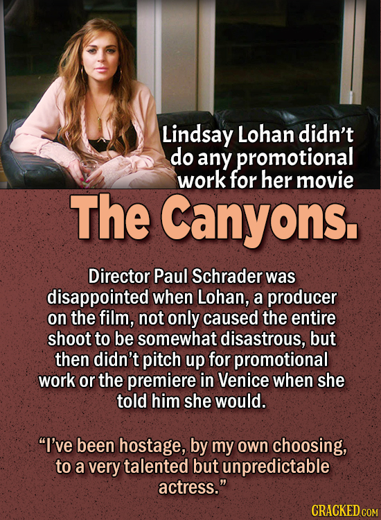 People Who Didn't Want Anything To Do With Their Own Work - Lindsay Lohan didn't do any promotional work for her movie The Canyons.  Director Paul Sch