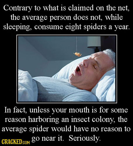 Contrary to what is claimed on the net, the average person does not, while sleeping, consume eight spiders a year. In fact, unless your mouth is for s
