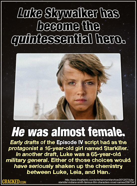 Luke Skywalker has become the quintessential hero. He was almost female. Early drafts of the Episode IV script had as the protagonist a 16-year-old gi