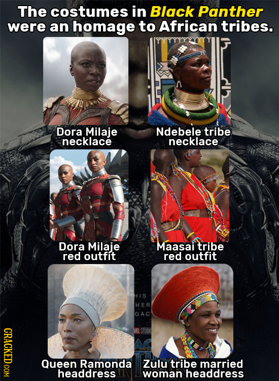 The costumes in Black Panther were an homage to African tribes. Dora Milaje Ndebele tribe necklace necklace Dora Milaje Maasail tribe red outfit red o