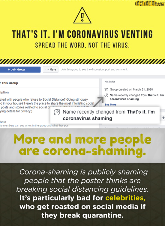 CRACKED.CON THAT'S IT. I'M CORONAVIRUS VENTING SPREAD THE WORD, NOT THE VIRUS. Join Group More Join this group to see the discussion post and comment