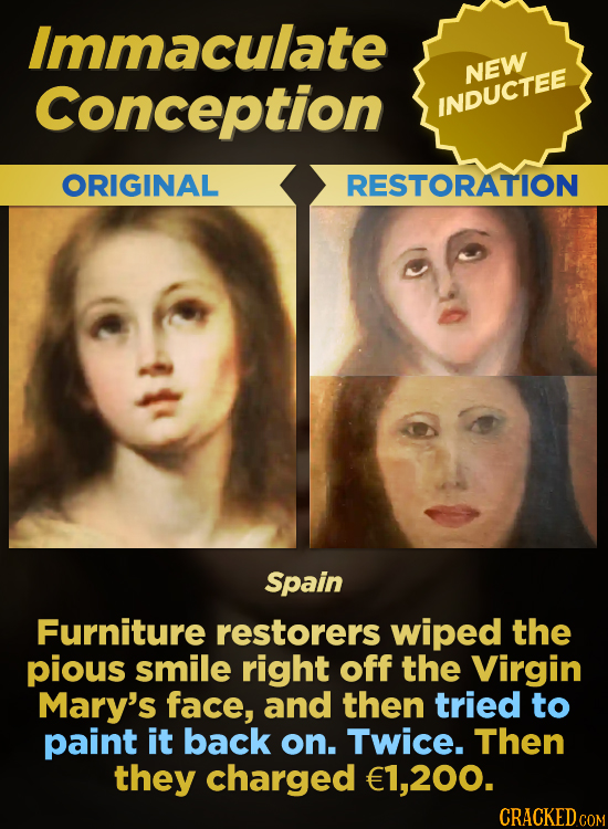 Immaculate Conception NEW INDUCTEE ORIGINAL RESTORATION Spain Furniture restorers wiped the pious smile right off the Virgin Mary's face, and then tri