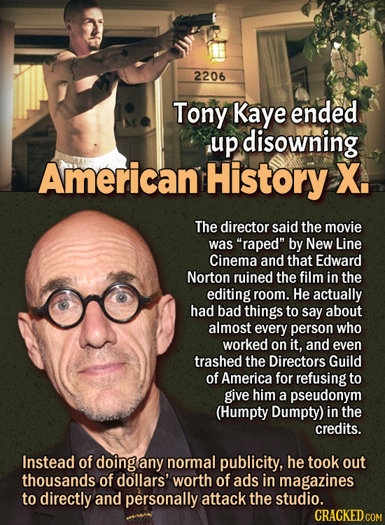 """People Who Didn't Want Anything To Do With Their Own Work - Tony Kaye ended up disowning American History X.  The director said the movie was """"raped"""""""