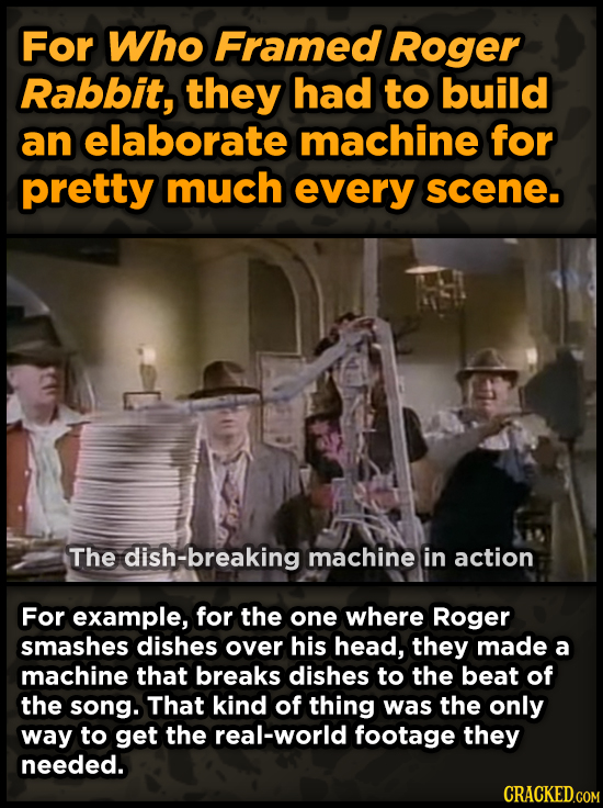 For Who Framed Roger Rabbit, they had to build an elaborate machine for pretty much every scene. The dish-breaking machine in action For example, for