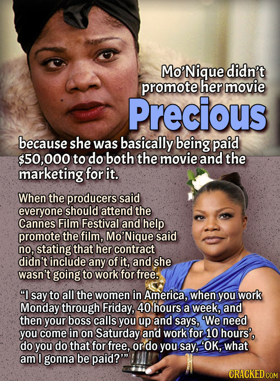 People Who Didn't Want Anything To Do With Their Own Work - Mo'Nique didn't promote her movie Precious because she was basically being paid $50,000 t