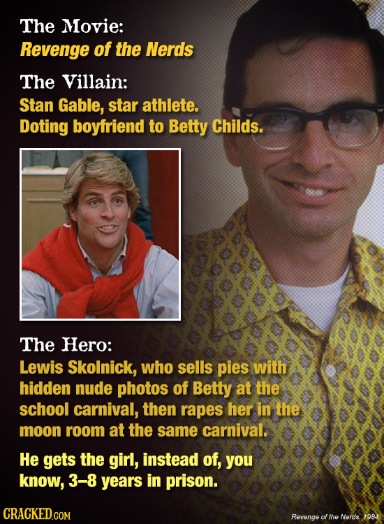The Movie: Revenge of the Nerds The Villain: Stan Gable, star athlete. Doting boyfriend to Betty Childs. The Hero: Lewis Skolnick, who sells pies with