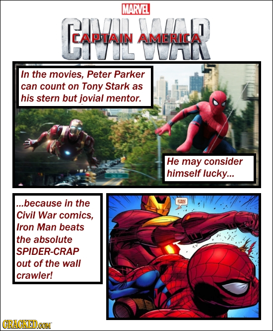 MARVEL CA CAPTAIN AMERICA In the movies, Peter Parker can count on Tony Stark as his stern but jovial mentor. He may consider himself lucky... ...beca
