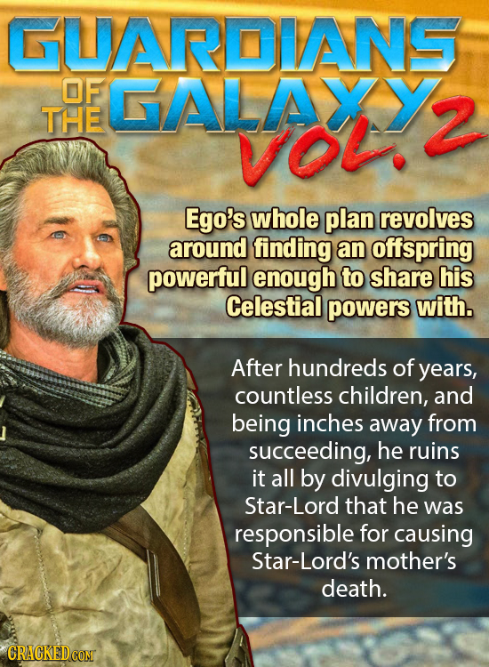GUARDVANS OF GALAXY THE 2 VO. Ego's whole plan revolves around finding an offspring powerful enough to share his Celestial powers with. After hundreds