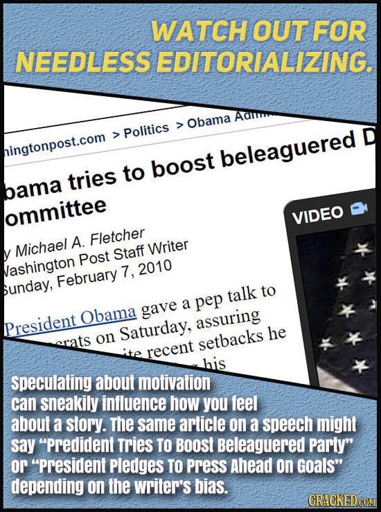 WATCH OUT FOR NEEDLESSEDITORIALIZING. Obama Politics > D hingtonpost.com beleaguered to boost tries bama ommittee VIDEO A. Fletcher Michael Staff Writ