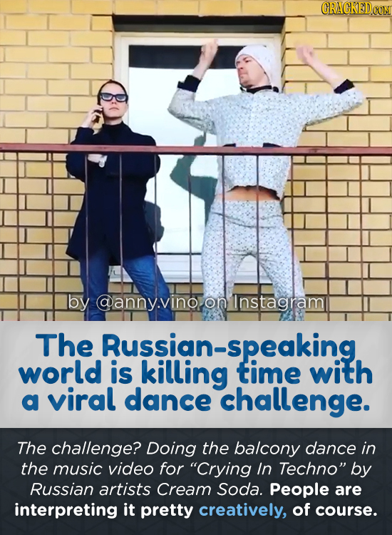 by @anny.vinooninstagram on The Rusllinatime world is with a viral dance challenge. The challenge? Doing the balcony dance in the music video for Cry