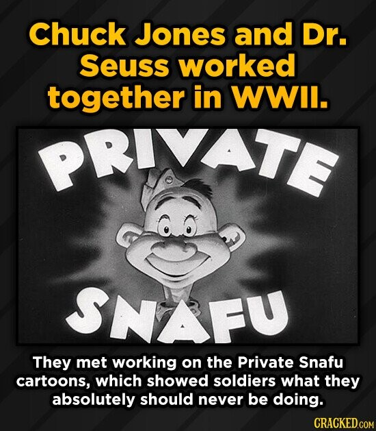 Chuck Jones and Dr. Seuss worked together in WWIl. PRIVATE SNAFU They met working on the Private Snafu cartoons, which showed soldiers what they absol