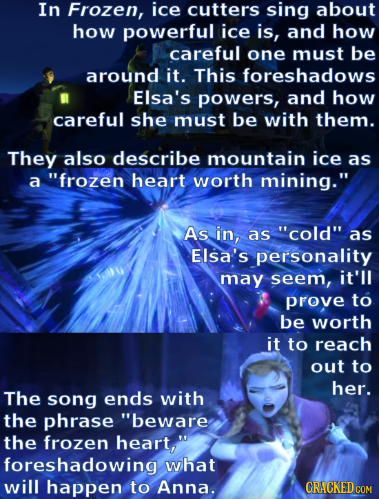 In Frozen, ice cutters sing about how powerful ice is, and how careful one must be around it. This foreshadows Elsa's powers, and how careful she must
