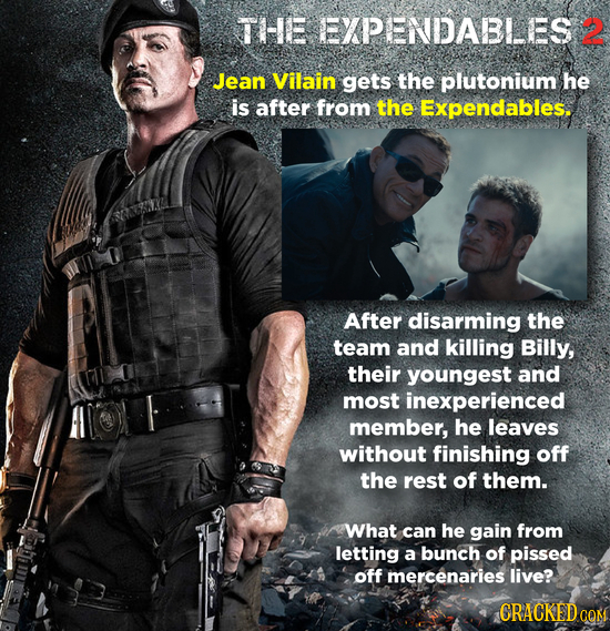 THE EXPENDABLES 2 Jean Vilain gets the plutonium he is after from the Expendables. After disarming the team and killing Billy, their youngest and most