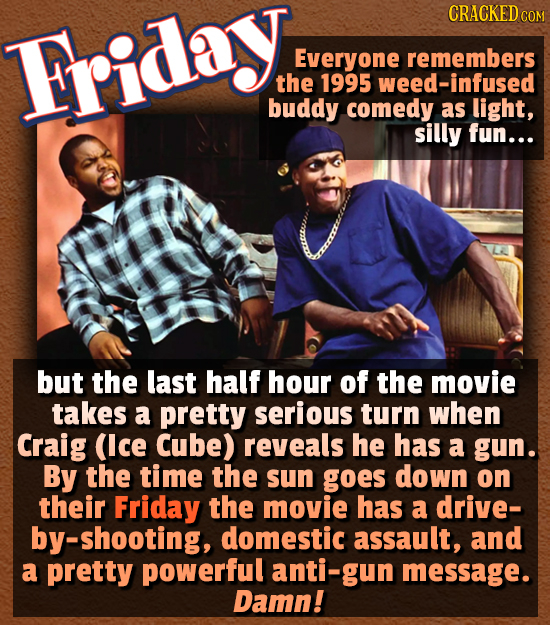 CRACKED C COM Friday. Everyone remembers the 1995 weed-infused buddy comedy as light, silly fun... but the last half hour of the movie takes a pretty