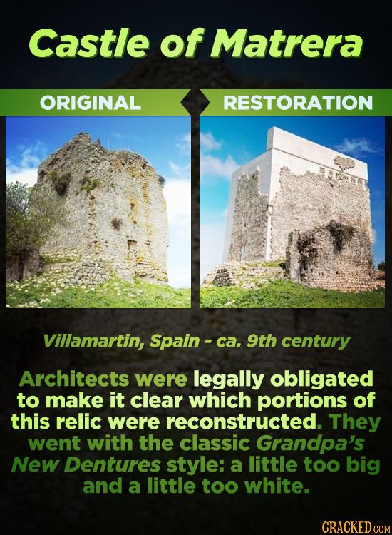 Castle of Matrera ORIGINAL RESTORATION Villamartin, Spain - ca. 9th century Architects were legally obligated to make it clear which portions of this