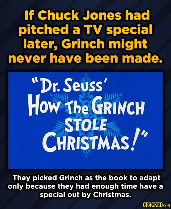 If Chuck Jones had pitched a TV special later, Grinch might never have been made. Dr. Seuss' How The GRINCH STOLE CHRISTMAS! They picked Grinch as t