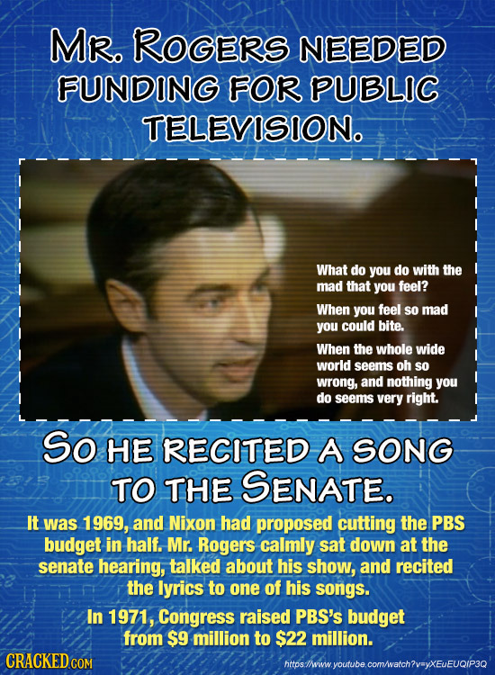 MR. ROGERS NEEDED FUNDING FOR PUBLIC TELEVISIONO What do you do with the mad that you feel? When you feel so mad you could bite. When the whole wide w