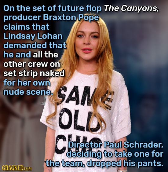 On the set of future flop The Canyons, producer Braxton Pope claims that Lindsay Lohan demanded that he and all the other crew on set strip naked for
