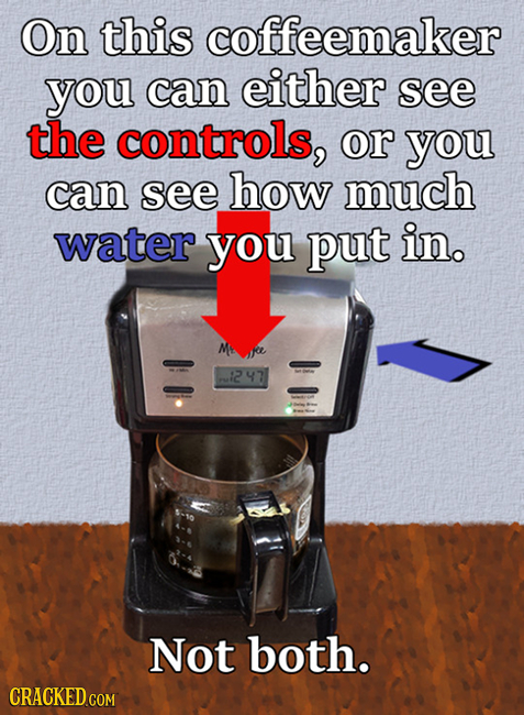 On this coffeemaker you can either see the controls, or you can see how much water you put in. M 247 Not both. CRACKED COM