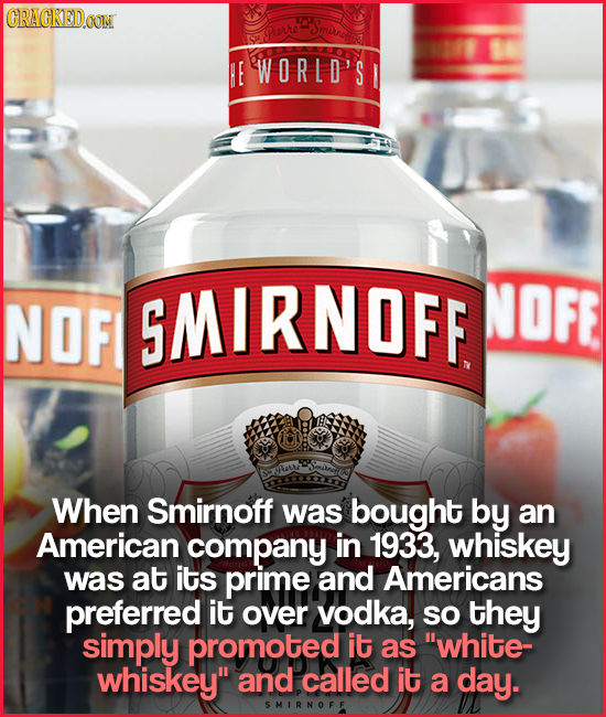 CRACKETDOON Smitncs SYORE HE WORLD'S NOF SMIRNOFF NOFE When Smirnoff was bought by an American company in 1933, whiskey was at its prime and American
