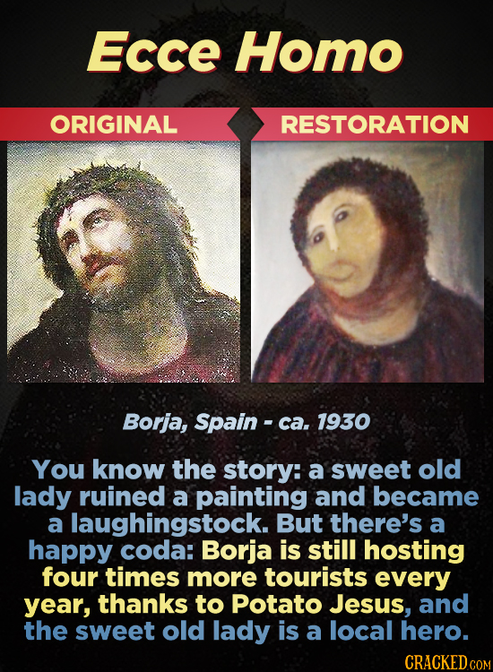 Ecce Homo ORIGINAL RESTORATION Borja, Spain - ca. 1930 You know the story: a sweet old lady ruined a painting and became a laughingstock. But there's