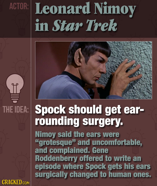 ACTOR: Leonard Nimoy in Star Trek THE IDEA: Spock should get ear- rounding surgery. Nimoy said the ears were grotesque and uncomfortable, and compla