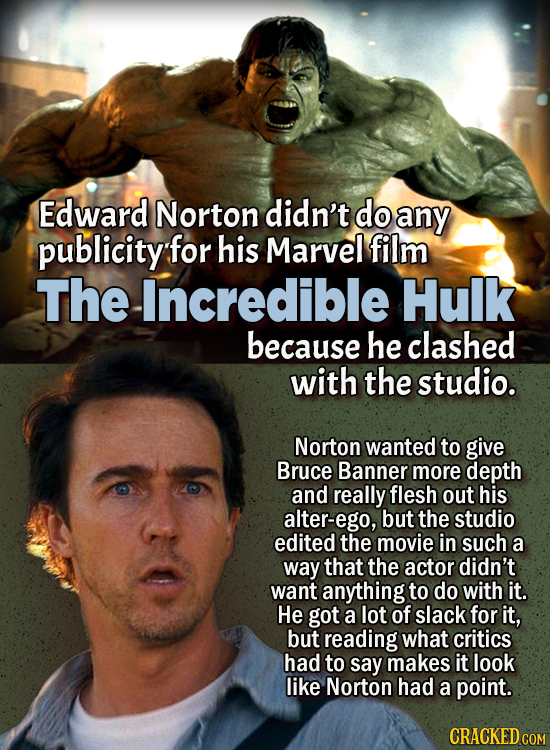 People Who Didn't Want Anything To Do With Their Own Work - Edward Norton didn't do any publicity for his Marvel film The Incredible Hulk because he c