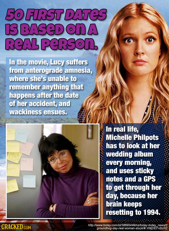50 FIRST DATES IS BASED on A REAL person. In the movie, Lucy suffers from anterograde amnesia, where she's unable to remember anything that happens af