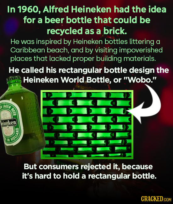In 1960, Alfred Heineken had the idea for a beer bottle that could be recycled as a brick. He Was inspired by Heineken bottles littering a Caribbean b