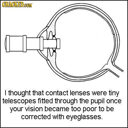 CRACKED.CON I thought that contact lenses were tiny telescopes fitted through the pupil once your vision became too poor to be corrected with eyeglass
